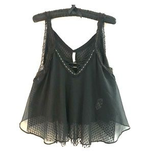 Free People Lace Up Beaded Swing Tank